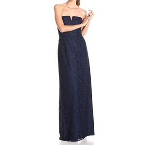 Donna Morgan Reese Navy Lace Strapless Gown